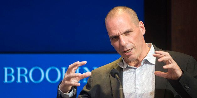 Greek Finance Minister Yanis Varoufakis speaks at the Brookings Institution in Washington, Thursday,...