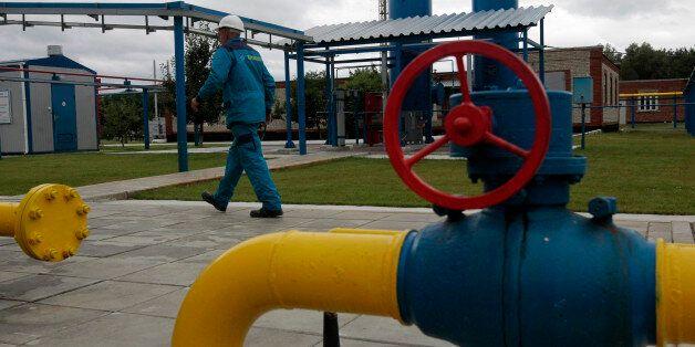 A worker at a boosting compressor station ''East-Poltava'' near the village of Kovalivka, Poltava region...