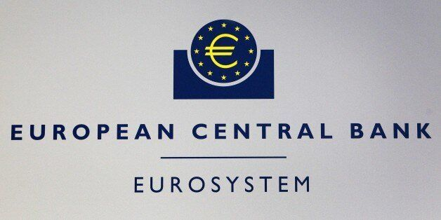 The Euro logo of the European Central Bank (ECB) is pictured on the sidelines of a press conference following...