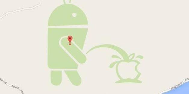 Ντροπή! To λογότυπο του Android ουρεί στο λογότυπο της Apple στο Google
