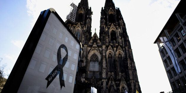 COLOGNE, GERMANY - APRIL 17: A black ribbon showing the flight number of Germanwings flight 4U9525 is...