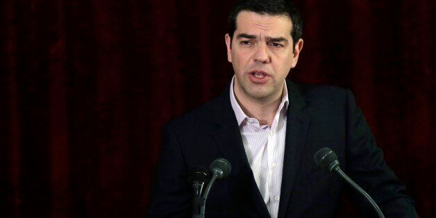Greek Prime Minister Alexis Tsipras speaks at the Health ministry, in Athens, on Thursday, April 2, 2015....