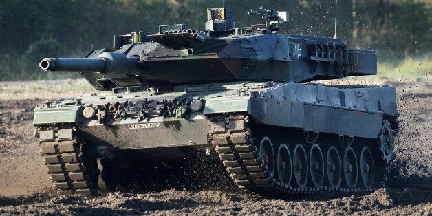 A Leopard 2 tank is pictured during a demonstration event held for the media by the German Bundeswehr...