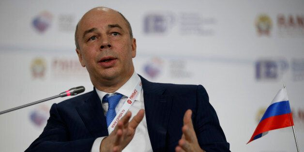 Russia's Finance Minister Anton Siluanov addresses the Gaidar Forum in Moscow, Russia, Wednesday, Jan....