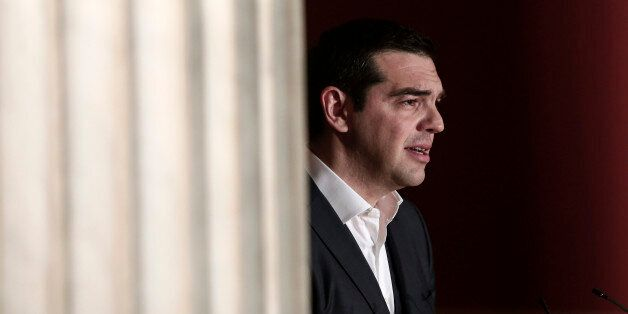 Greece's prime minister Alexis Tsipras delivers a speech at Athens University, Wednesday March 25, 2015....