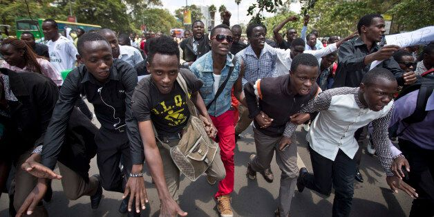 Kenyan students march in memory of the victims of the Garissa college attack and to protest what they...