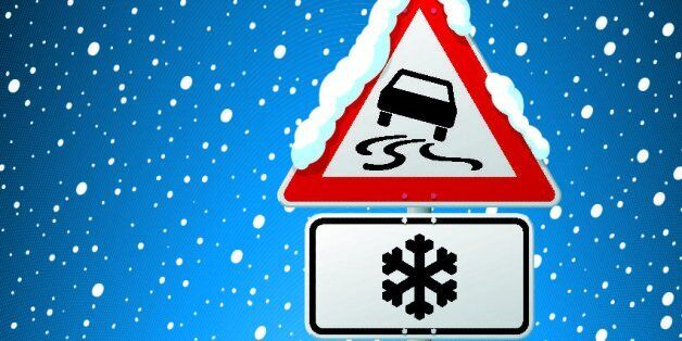 Vector Illustration of a german Road Sign in front of a snowy sky. Dangerous Area Risk Of Ice Warning...