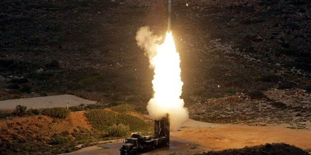 An S-300 PMU-1 anti-aircraft missile launches during a Greek army military exercise near Chania on the...