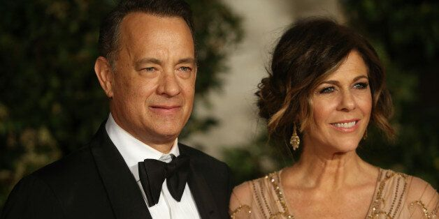 LONDON, ENGLAND - FEBRUARY 16:  Tom Hanks and Rita Wilson attend an official dinner party after the EE British Academy Film Awards at The Grosvenor House Hotel on February 16, 2014 in London, England.  (Photo by Chris Jackson/Getty Images)