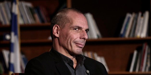 Yanis Varoufakis, Greece's finance minister, waits for the start of a Bloomberg Television interview...