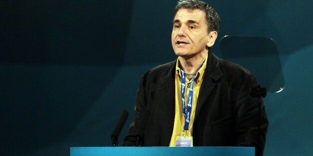 Guest speaker Euclid Tsakalotos of Greek Syriza party addresses the Republican party Sinn Fein annual...