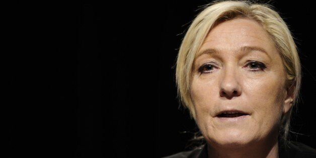 Leader of the french far-right Front National (FN) party Marine Le Pen holds a press conference on March...