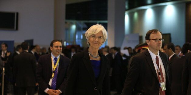 Christine Lagarde, Managing Director of the International Monetary Fund arrives at an economic conference...