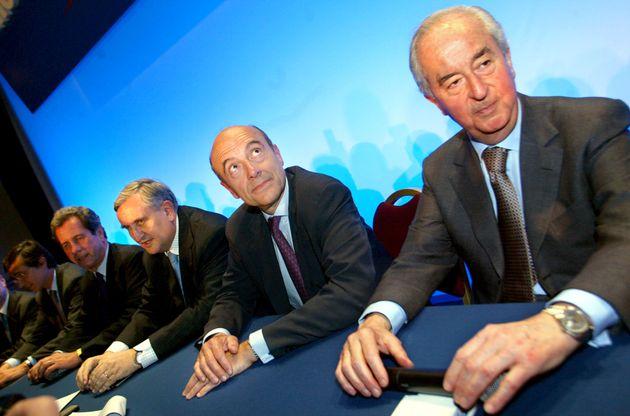 Les anciens premiers ministres Edouard Balladur, Alain Juppé et Jean-Pierre Raffarin réunis en
