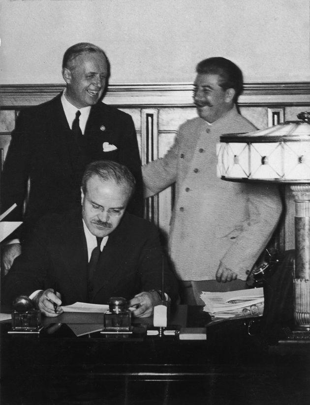 23rd August 1939: Joachim von Ribbentrop (1893-1946), German foreign minister, Soviet premier Joseph...