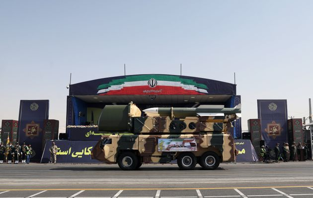 Missiles are displayed by Iran's army during the ceremony of the National Army Day parade in Tehran,...