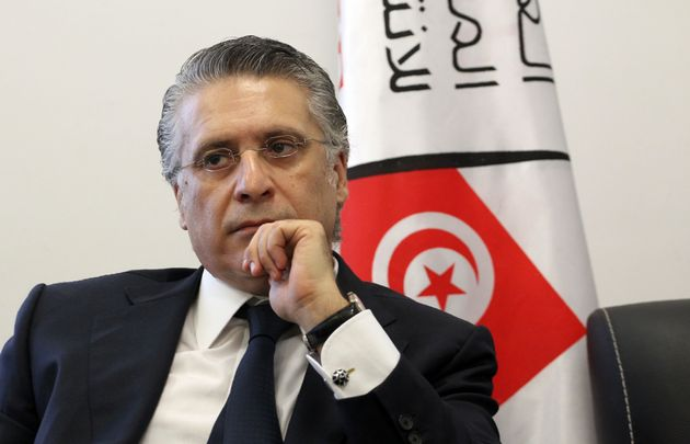 Nabil Karoui, Tunisian media magnate and would-be presidential candidate is pictured after registering...