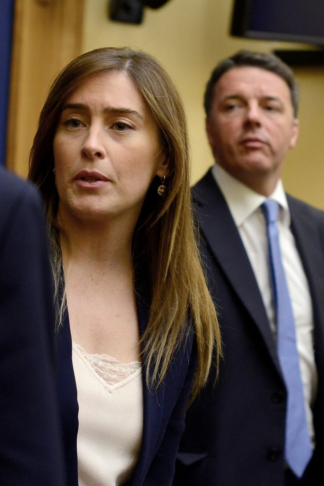 ROME, ITALY - APRIL 03: Maria Elena Boschi and Matteo Renzi attend a press conference to ask for justice...