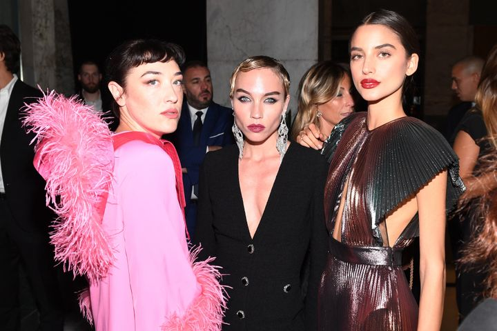 MILAN, ITALY - SEPTEMBER 21: Mia Moretti, Kay Boutilier and a guest attend the amfAR Gala Milano 2019 at Palazzo Mezzanotte on September 21, 2019 in Milan, Italy. (Photo by Ryan Emberley/amfAR/Getty Images for amfAR)