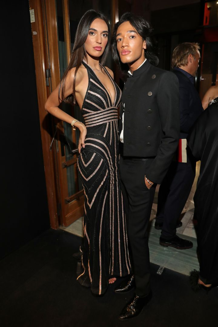 MILAN, ITALY - SEPTEMBER 21: Noel Dulaku and guest attend the amfAR Gala Milano 2019 at Palazzo Mezzanotte on September 21, 2019 in Milan, Italy. (Photo by Andreas Rentz/amfAR/Getty Images for amfAR)