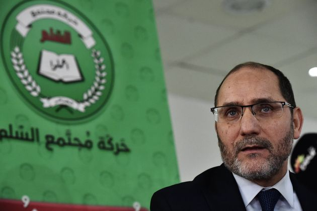 Abderrazak Makri speaks during a press conference in the Algerian capital Algiers on January 26, 2019....
