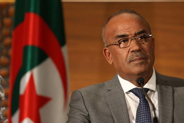 The new Prime Minister Noureddine Bedoui hosts a press conference in Algiers on March 14, 2019 Algeria's...