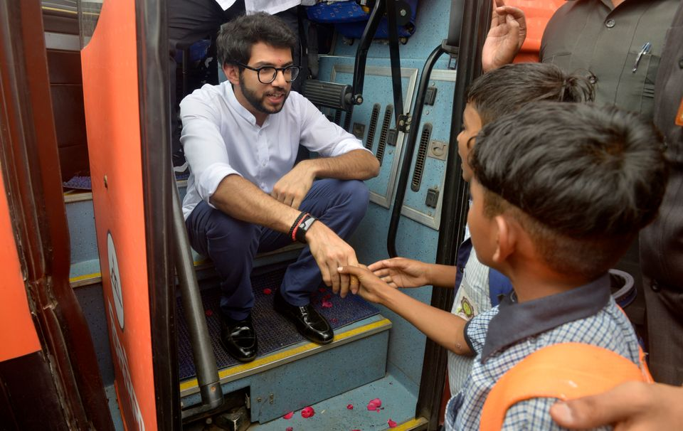Shiv Sena's Aaditya Thackeray during his Jan Ashirwaad Yatra in
