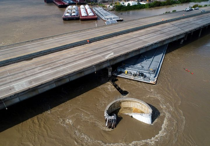 Interstate 10 at the San Jacinto River was shut down in both directions after multiple barges collided with the bridge Friday