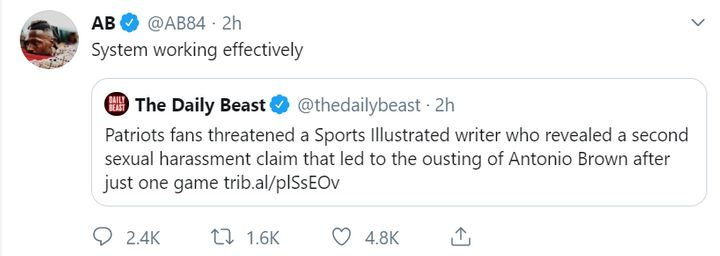In a since-deleted tweet, Brown appeared to support threats reportedly being made against a Sports Illustrated reporter.