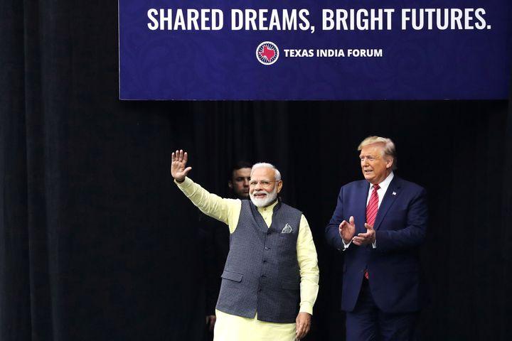 """U.S. President Donald Trump and India's Prime Minister Narendra Modi participate in the """"Howdy Modi"""" event in Houston, Texas,"""