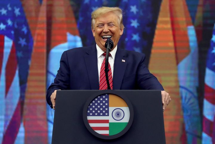 "President Donald Trump speaks during the ""Howdy Modi"" event in Houston on Sunday."
