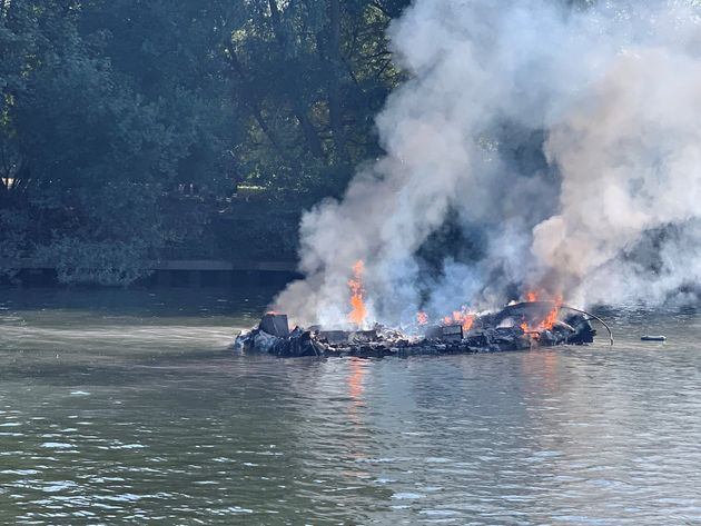 Boat Catches Fire And Explodes On The River Thames