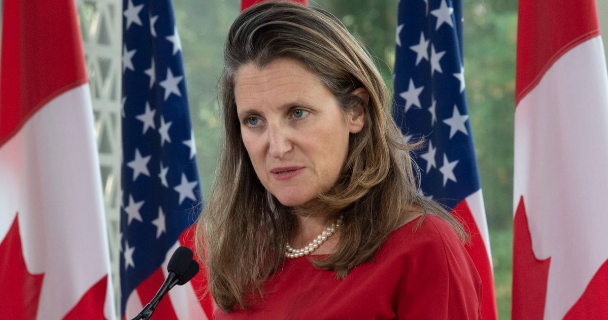 Chrystia Freeland Gets Called 'War Monger,' Town Hall Cut Short By Protesters