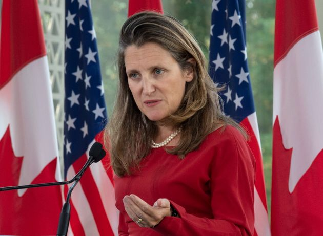 Foreign Affairs Minister Chrystia Freeland responds to a question in Ottawa on Aug. 22,