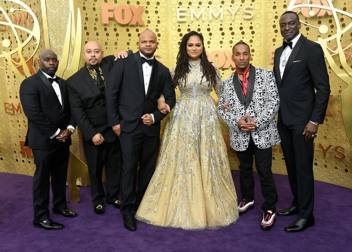 From left to right: Raymond Santana, Antron McCray, Kevin Richardson, Ava DuVernay, Korey Wise and Yusef Salaam arrive for the 71st Emmy Awards.The