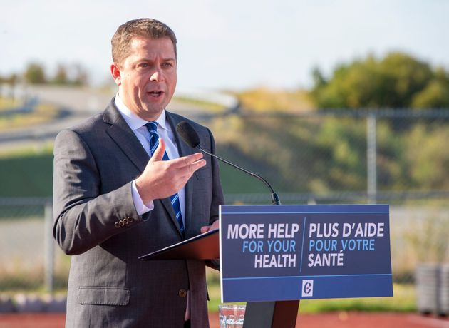 Federal Conservative leader Andrew Scheer makes a campaign announcement in Saint John, N.B. on Friday...