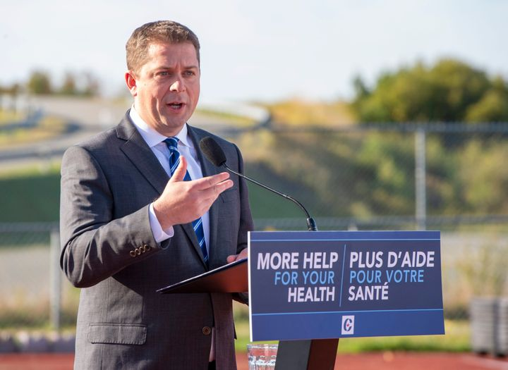 Federal Conservative leader Andrew Scheer makes a campaign announcement in Saint John, N.B. on Friday September 20, 2019.
