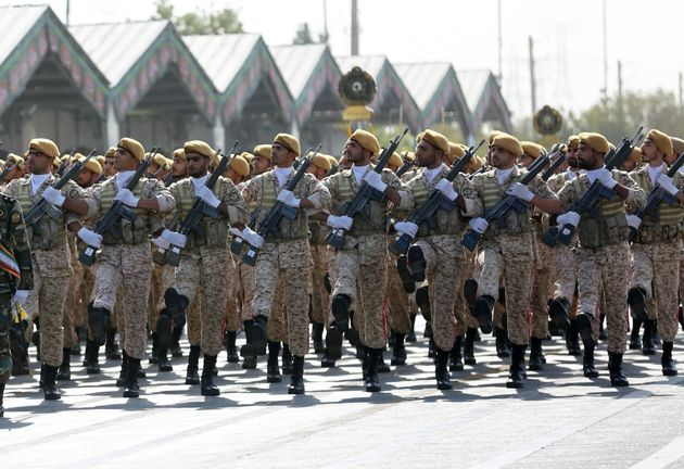 Military parade in Tehran marking the 39th anniversary of the outset of the Iran-Iraq war, in front of...