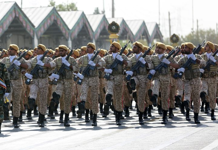 Military parade in Tehran marking the 39th anniversary of the outset of the Iran-Iraq war, in front of the shrine of Ayatollah Khomeini.