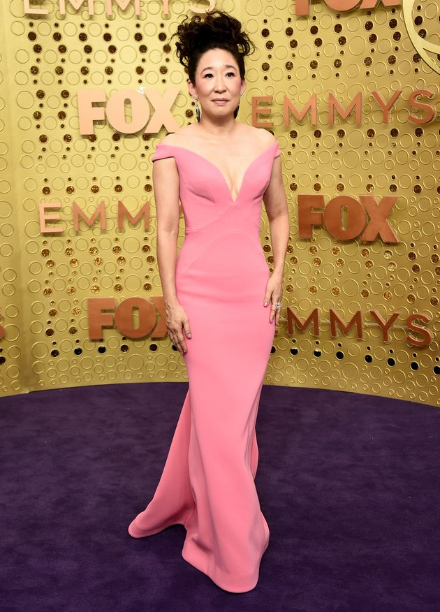 Sandra Oh arrives at the 71st Primetime Emmy Awards on Sunday, Sept. 22, 2019, at the Microsoft Theater...