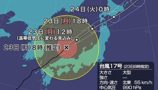 【台風17号】勢力を維持し北日本を通過の進路予想 東京・千葉など関東でも風に注意