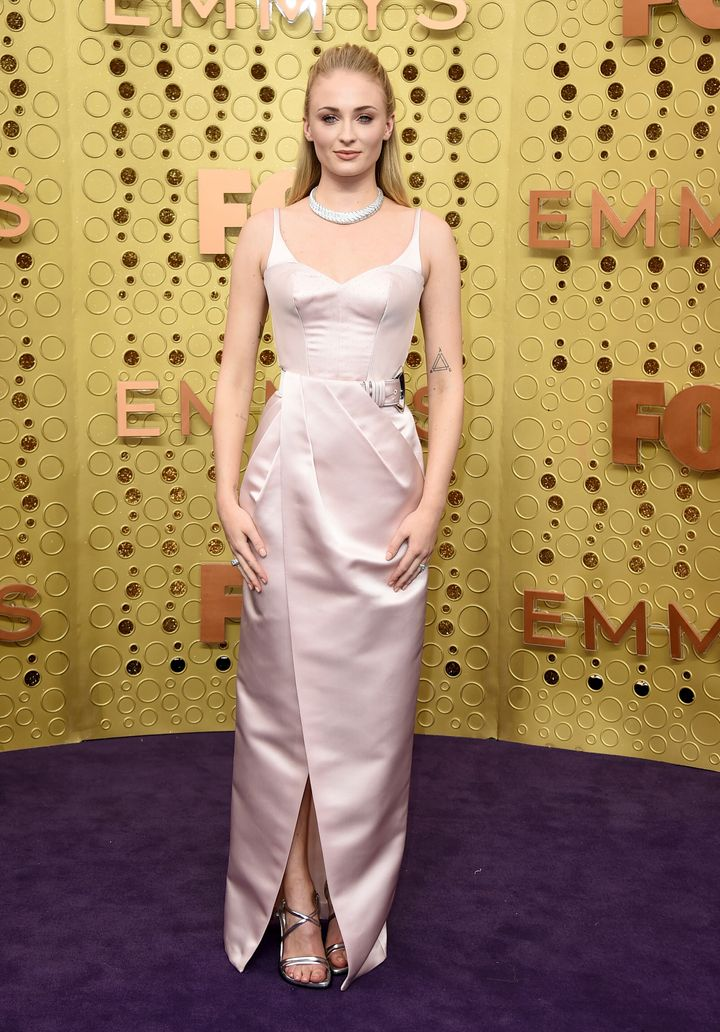 Sophie Turner arrives at the 71st Primetime Emmy Awards on Sunday, Sept. 22, 2019, at the Microsoft Theater in Los Angeles.
