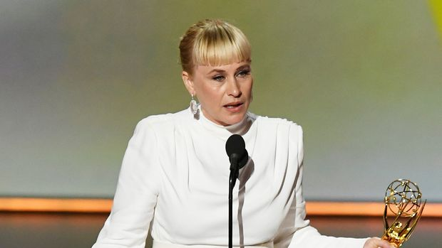 LOS ANGELES, CALIFORNIA - SEPTEMBER 22: Patricia Arquette accepts the Outstanding Supporting Actress in a Limited Series or Movie award for 'The Act' onstage during the 71st Emmy Awards at Microsoft Theater on September 22, 2019 in Los Angeles, California. (Photo by Kevin Winter/Getty Images)