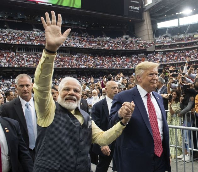 US President Donald Trump and Prime Minister Narendra Modi attend