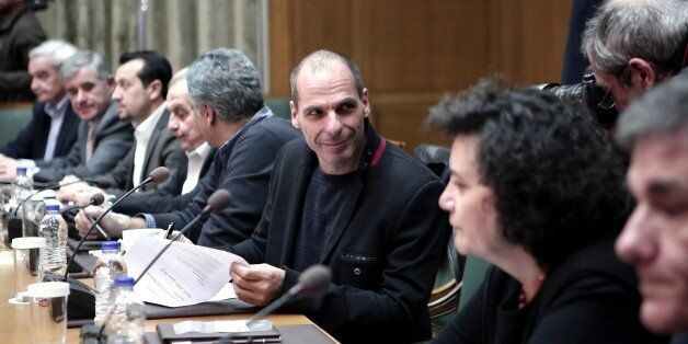 Greek Finance Minister Yanis Varoufakis attends a cabinet meeting in the Greek parliament in Athens on...