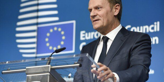 EU Council president Donald Tusk holds a joint press conference with EU Commission president during a...