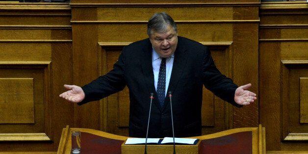 ATHENS, GREECE - 2015/02/10: Evangelos Venizelos President of Pasok political party gives a speech before...