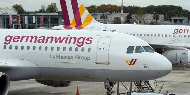 FILE - In this Oct. 16, 2014 an Airbus A 320 of the German airline Germanwings is parked at the airport...