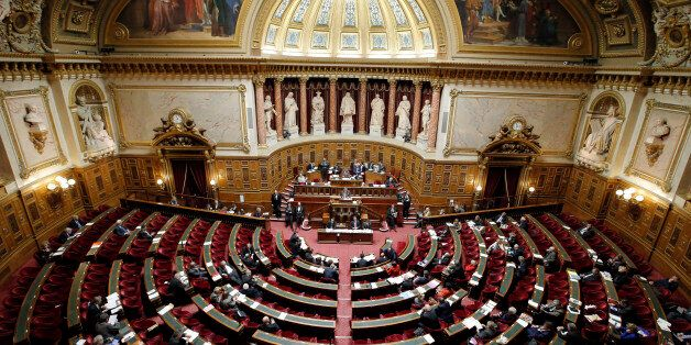 A general view of France's Senate prior to a vote on the recognition of a Palestinian state, Paris, France,...