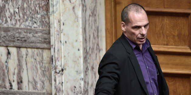 Greek Finance Minister Yanis Varoufakis arrrives on March 18, 2015 at the parliament in Athens. Greece...